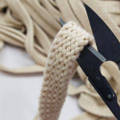 Бежевый шнур плоский плетеный 1,5см (хб) хлопчатобумажный, без наполнителя (6-2426-В-191)