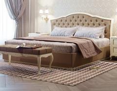 Кровать VENEZIA NEW (на цоколе в ткани)