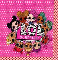 Салфетки бумажные праздничные Куклы Лол (20 штук)