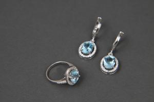 Серебряный родированный набор: серьги и кольцо с