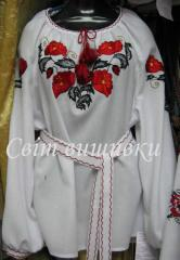 Blouses with an embroidery. The embroidered female