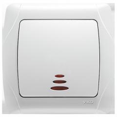 Выключатель проходной с подсветкой Белый Carmen