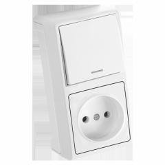 Блок верт Белый выключатель с подсветкой + розетка