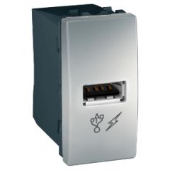 Розетка USB 1-мод. Алюминий Unica Schneider,