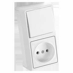 Блок верт Белый выключатель + розетка Vera Viko,