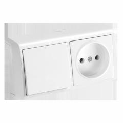 Горизонтальный блок Белый выключатель + розетка