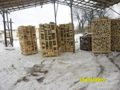 Firewood is chipped, dry, a beech