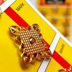 D=20 мм кнопки металлические декоративные для одежды пришивные золотой (653-Т-0757)