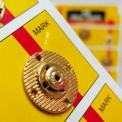 D=20 мм кнопки металлические декоративные для одежды пришивные золотой (653-Т-0754)