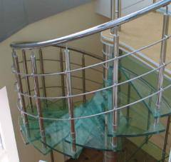Metal spiral staircases from a stainless steel