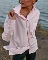 Рубашка женская розовая пудра oversize WOOLBOOK