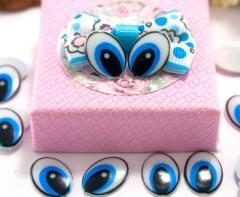 (10грамм 55-60 шт) Пластиковые овальные глазки для игрушек 15х11мм, без ресничек (сп7нг-4191)