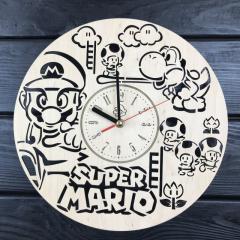 Стильные настенные деревянные часы «Супер Марио»