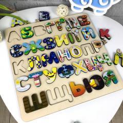 Детский цветной алфавит из дерева с объемными