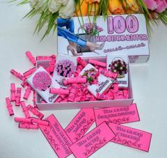 Подарок для девушки 100 комплиментов + 4 шоколадки