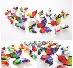 Двойные цветные 4D бабочки для декора.