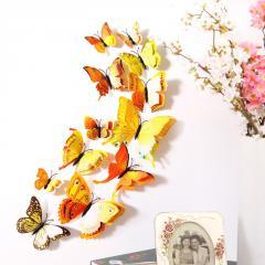 Двойные желтые 4D бабочки для декора.