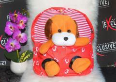 Детский красный рюкзак с съемной Игрушкой Собачка