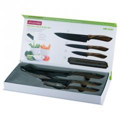 Набор кухонных ножей 4 пр.(3 ножа+магнитная