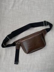 Бананка женская коричневая, поясная сумка эко кожа