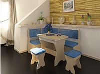Кухонный уголок комплект: стол раскладывающийся мягкий уголок с 2-мя ящиками под сиденьями 2 табурета.