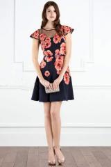 Шифоновое платье под поясок с цветочным принтом