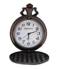 Часы карманные с тиснением на задней крышке под