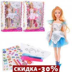 Кукла в платье - расскраске