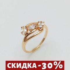 Женское кольцо Три камешка цирконий, размер 18