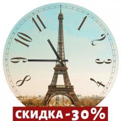 Часы настенные круглые,  36 см Эйфелева башня