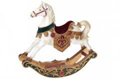 Новогодняя декоративная статуэтка Лошадка-качалка