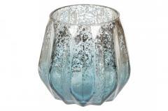 Подсвечник стеклянный (цвет - лазурное серебро)