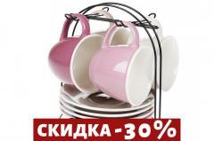 Набор (4 шт) фарфоровых чашек 170мл с блюдцами на