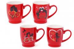 Кружка фарфоровая кофейная Влюбленные сердца 330мл