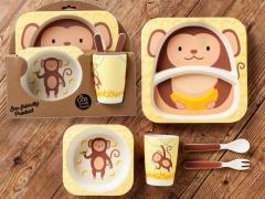 Бамбуковый набор детской посуды (ЭКО) «Обезьянка».