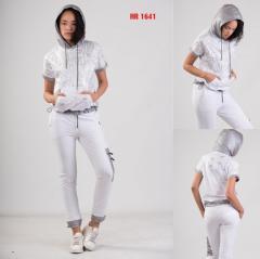 Летний женский серый спортивный костюм с...