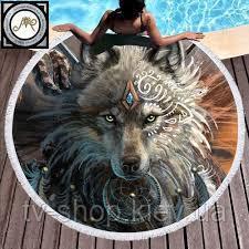 Коврик для пляжа с бахромой Волк,160 см (махра)