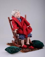 Кукла фарфоровая Дедушка в кресле ,46 см