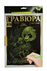 "Скретч картина (гравюра) ""Golden Metallic: Панда"" с рамкой"