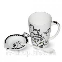 """Чашка с крышкой и ложкой """"Фишер-кот"""" 450 мл"""