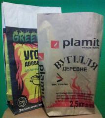 Paper bags under coal.
