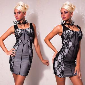 Черно белое платье с гипюром L2462 купить, цена,