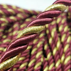 Декоративный шнур для натяжных потолков, БОРДО С ЗОЛОТОМ 10 мм (6-ЮА-0002)