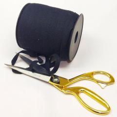 Черная хб киперная лента 1 см на отрез кратно 1 м. (6-БК-777)