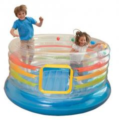 The trampoline is inflatable transparen