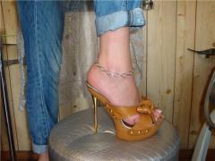 Босоножки женские, Туфли без задника, Сабо рыжая