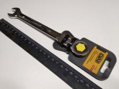 Ключ рожково-накидной 15 мм СИЛА (202119) CrV/с трещеткой и шарниром