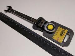 Ключ рожково-накидной 14 мм СИЛА (202118) CrV/с трещеткой и шарниром