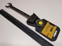 Ключ рожково-накидной 17 мм СИЛА (202021) CrV/с трещеткой
