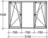 Metalplastic windows 2100*1500 (4-9-4-9-4) STEKO
